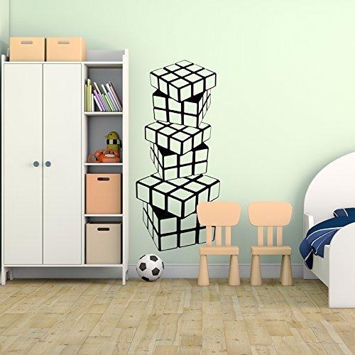 Wall Decals Teen Boys Room Stacked Rubik's Cubes Vinyl