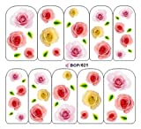 Egoodforyou BLE Water Slide Nail Tattoo Nail Decal Sticker Classicism Oil Painting (Fresh Roses Follower) with one packaged nail art flower sticker bonus