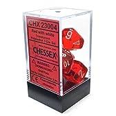 CHESSEX TRPGダイス/サイコロ Translucent Polyhedral(多面体) Red w/white 7個セット