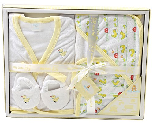 Big Oshi Bathtime Essentials Terry Layette Baby Gift Set, 5 Piece - Pastel Yellow