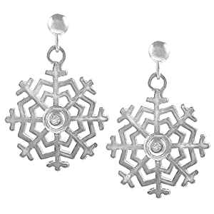 Sterling Silver Diamond Chip Snowflake Earrings