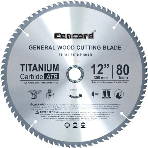 Concord Blades WCB1200T080HP 12-Inch 80 Teeth TCT General Purpose Hard & Soft Wood Saw Blade (80 Tooth 12 Inch Miter Saw Blade compare prices)