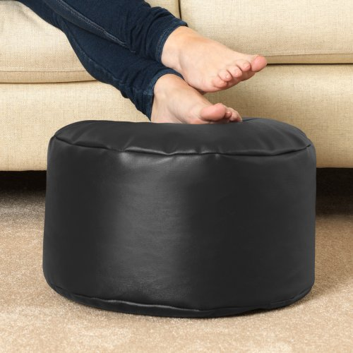 Round Footstool BLACK - Bean Bag Foot Rest
