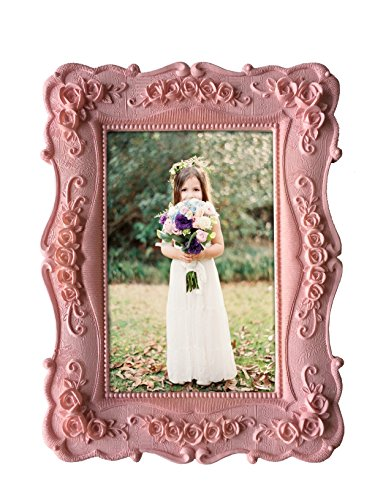 Kingwin Home Photo Frame Resin Sculptural for 4 By 6 Inch (pink) (Pink Picture Frame compare prices)