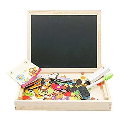 Lewo Wooden Educational Toys Magnetic Art Easel Animals Puzzle Games for Kids by Muwanzi