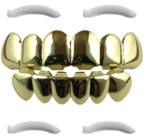 [14K Gold Plated Grillz + 2 EXTRA Molding Bars] (2 Person Halloween Costumes For Kids)