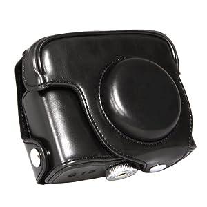 Canon PowerShot G15專用 デジタルカメラケース PU Leatherケース ショルダーストラップ付 ﹙ブラック﹚