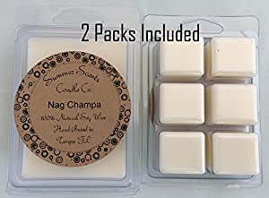 Nag Champa Quality Soy Tarts 2 Packs 6.4oz - Homemade, Hand Poured Highly Scented Wax Melts. Indian Fragrance Popular in Incense with Woody Notes Similar to Patchouli, with Touches of Powder, Musk, Amber, and Vanilla. 50+ Hour Supply of Strongly Scented T