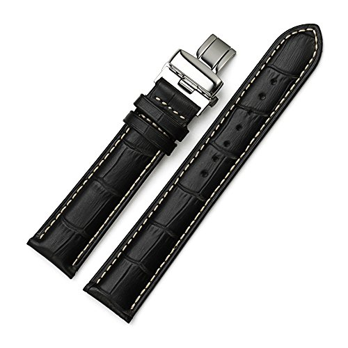 iStrap 20mm Alligator Grain Cow Leather Watch Band Strap W/ Butterfly Deployment Buckle Black 20