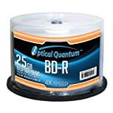 Optical Quantum 25GB 4X Blu-ray Single-Layer Recordable Disc BD-R White Inkjet Printable - 50 discs Spindle