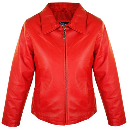 USA Leather Womens Red Short Zipper Leather Jacket - Large