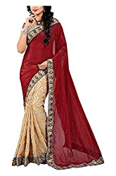 Arya Dress Maker Women's Georgette Saree with Blouse Piece (Beige and Red)