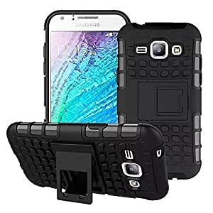 DENICELL Back Stand Spider Hard Dual Armor Hybrid Bumper Back Case Cover For Samsung Galaxy Grand Duos/7106 (KICK STAND RUGGED BLACK)