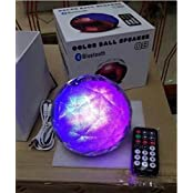 Q8 High Fidelity Stereo Bluetooth Remote Control Color Ball Shape Speaker, Colorful Lights (Silver)