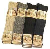 Sockstack® 6 Pairs Of Men's Chunky Long Wool Socks, Thick Heavy Duty Work Boot Socks, 6-11