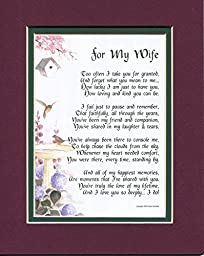 A Gift For A Wife, #79, Touching 8x10 Poem, Double-matted in Burgundy Over Dark Green And Enhanced With Watercolor Graphics.