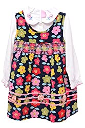 Titrit Multi-Coloured Floral Print Corduroy Party wear Dresses for Girls