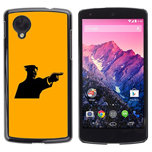 AMAZING-BASE Smartphone Funny Back Image Picture Case Cover Protection Black Edge for LG Google Nexus 5 D820 D821 - Yellow Mad (Black Tough Guy Wig)