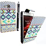 SONY XPERIA SP M35H VARIOUS PU LEATHER MAGNETIC FLIP CASE SKIN COVER POUCH + FREE STYLUS (Aztec Light Tribal Retro Vintage)