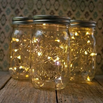 Mason Jar Light, 16 Oz. Pint, Warm White Battery Fairy Lights, Set Of 3
