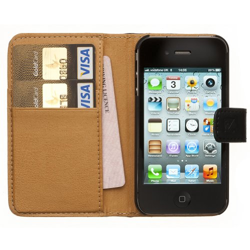 Fonerize Leather Wallet and iPhone 4 4S Case plus Card Holder in Black and Tan