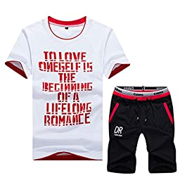 Sun Lorence Mens Leisure Sportswear Active T-shirt And Shorts Sets Cotton Activewear Red Size L