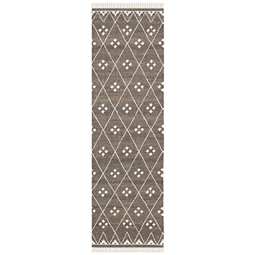 Safavieh Natural Kilim Collection NKM316A Hand Woven Brown and Ivory Wool Runner, 2 feet 3 inches by 6 feet (2'3