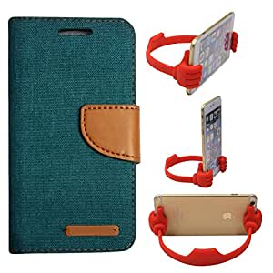 Aart Fancy Wallet Dairy Jeans Flip Case Cover for MotorolaMotoE (Green) + Flexible Portable Mount Cradle Thumb OK Designed Stand Holder By Aart Store.