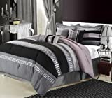 Chic Home Castle Rock 8 Piece Comforter Set King Grey