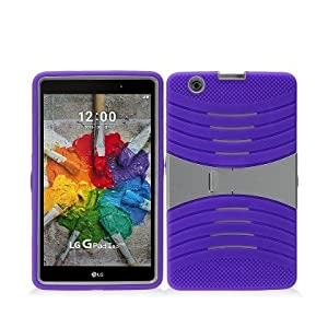 LG G Pad X 8.0 Case, IECUMIE WAVE Skin Protective Cover Case w/ Built-in Kick Stand for LG G Pad X, 8.0 - Purple Whit (Package Include an IECUMIE Stylus Pen)