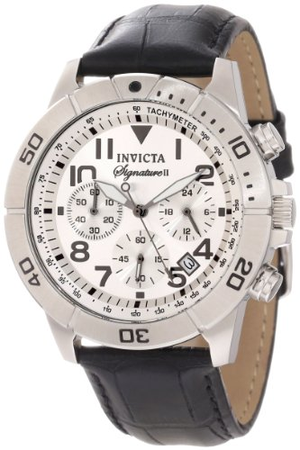 Mens Invicta Sport Chronograph Tachymeter Black Croc-Look Leather Date Watch 7283
