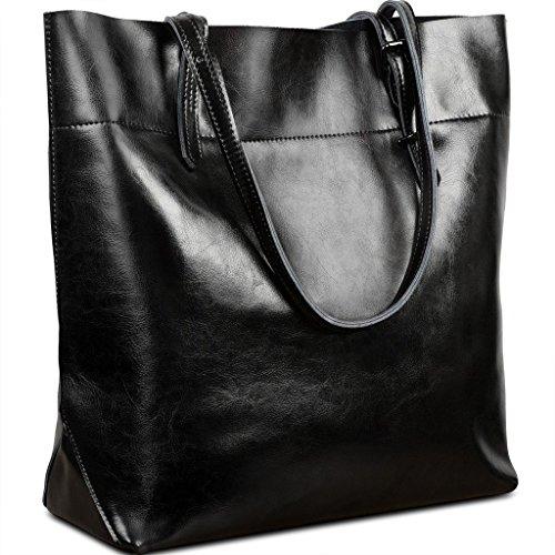 Yaluxe Donna Casual Stile morbido ceraartig vera pelle elegante Borse a tracolla Borsetta nero