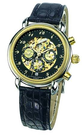 Charles-hubert, Paris Charles Hubert Paris - Xwa1764-men's Premium Automatic Skeleton Dress Watch With Black Face-plate And Gold-tone Accents