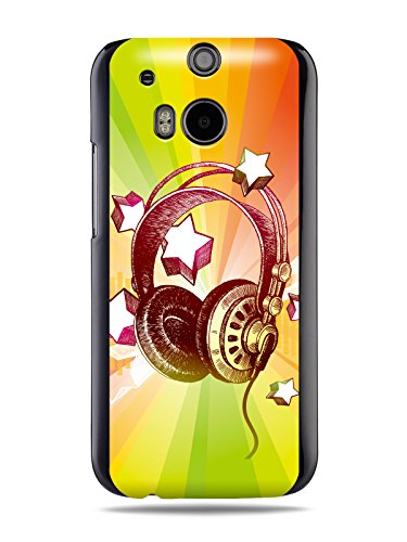 "Grüv Premium Case - ""Colorful Music Dj Headphones & Stars"" Design - Best Quality Designer Print On Black Hard Cover - For Htc One M8 2014"