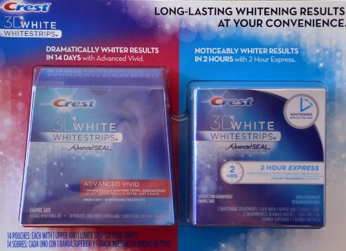Crest 3D White Whitestrips w/ Advanced Seal Professional Dental Whitening Kit (28 STRIPS) & Crest 3D White 1-Hour Express Whitestrips Dental Whitening Kit (2 TREATMENTS) - Bundle 2PACK (037000549840)