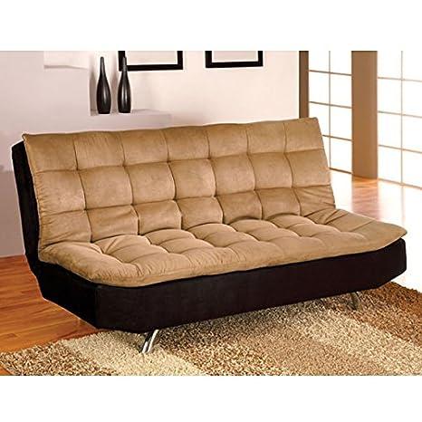 Mancora Camel & Black Microfiber Sofa Bed / Futon