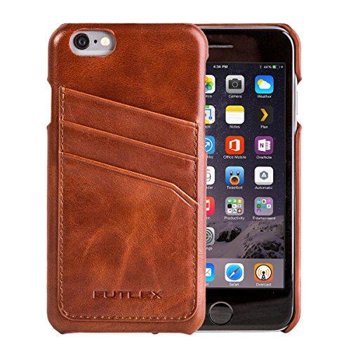 """iPhone 6 / 6S (4.7"""") Custodia, FUTLEX Custodia realizzato in vera pelle in stile vintage - Marrone - con fessure per carte - Ultra sottile - Design e taglio preciso - realizzato a mano"""
