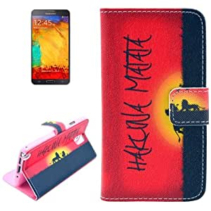 The Lion King Pattern Leather Case with Card Slots & Holder for Samsung Galaxy Note III / N9000