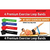Best Exercise Resistance Loop Bands - Set of 4- Lifetime Guarantee- 50% Off Our Complementary DVD Workout -A Fitness Stretch and Elastic Lateral Band