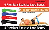 Best Exercise Resistance Loop Bands -Set of 4 Strength Performance Bands -Lifetime Guarantee- Great for Physical Therapy - Fitness Stretch - Elastic Power Weight Band-50% Off Complementary DVD Workout
