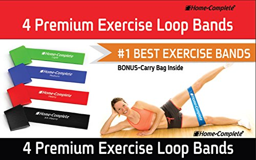 Best Exercise Resistance Loop Bands -Set of 4 Strength Performance Bands - Great for Physical Therapy - Fitness Stretch - Elastic Power Weight Band-50% Off Complementary DVD Workout