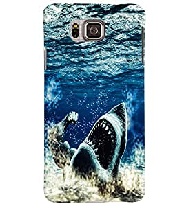 PrintVisa Animal Shark Ocean 3D Hard Polycarbonate Designer Back Case Cover for Samsung Galaxy Alpha