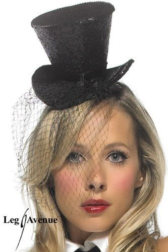 Leg Avenue Mini Top Hat With Veil, Black, One Size