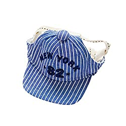 Imported Small Fresh Striped Blue Baseball Cap for Pet Dog Outdoor Accessories M