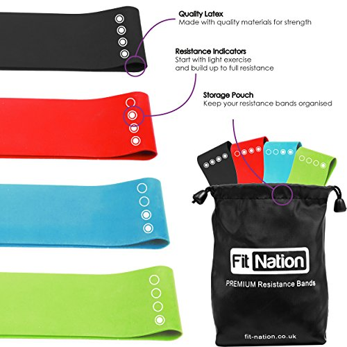Resistance Bands Set - 4 Loop Exercise Bands - FREE EBOOK With Best Fitness Band Exercises - Great For Keeping Fit , For Men And Women Of All Ages and Strengths