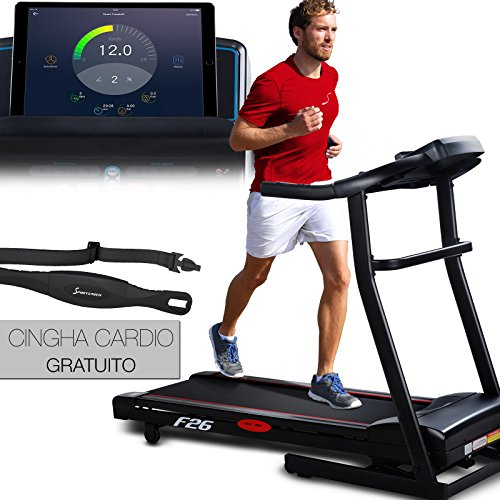 Sportstech F26 tapis roulant professionale con controllo di Smartphone App + cintura di impulsonel valore di 39,90 € inclusasa + MP3 AUX Bluetooth 4 CV 16 chilometri all'ora Formazione HRC - pieghevole