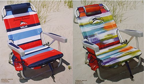 2-tommy-bahama-2015-backpack-cooler-chairs-with-storage-pouch-and-towel-bar-1-red-striped-and-1-mult