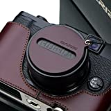 Gariz Genuine Leather XA-CFX10BR Camera Cap Fixs for Fuji Fujifilm X10 X20, Brown