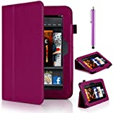 "Mobile-Heaven Multi Function Executive PURPLE Premium PU Leather Smart Stand Flip Pouch Case Cover For Amazon Kindle Fire HD 7"" Tablet 16GB or 32GB (Previous Generation) With Sleep Wake Function And Free Stylus & Screen Protector"