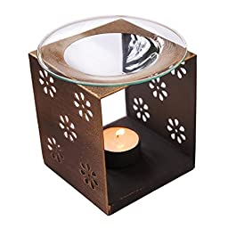 Ivenf Antique Brass Cast Iron & Glass Squre Tea Light Holders, Cut Out Floral Pattern Candle Lantern